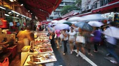Stalls in Wanchai market, Hong Kong, China, T/lapse - stock footage