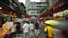 Wanchai market, Hong Kong, China, T/lapse Stock Footage