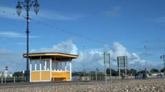 Sheltered Coastal Seating at Southsea Promenade Stock Footage