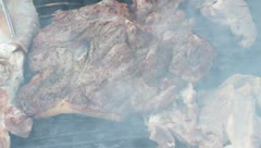 Steak and other Meat on BBQ Stock Footage