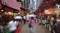 Chinese Stalls in Wanchai market, Hong Kong, China, T/lapse Stock Footage