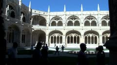 WorldClips-Jeronimos Monastery Courtyard-Sihouettes Stock Footage