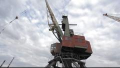 Port crane working - stock footage