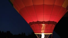 Hot Air Balloon Lighting up at Night - Night Glow Stock Footage