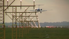 Plane landing in the afternoon Stock Footage