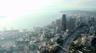 Stock Video Footage of Downtown Seattle Sun Flare Aerial