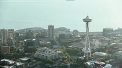 Space Needle at Sunset - Aerial Stock Footage