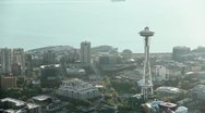 Stock Video Footage of Space Needle at Sunset - Aerial