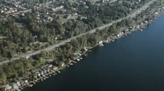 Waterfront Property - Aerial Stock Footage