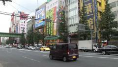 Akihabara. Tokyo, Japan. Electronic stores. Traffic Stock Footage