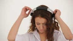 Girl listening to music Stock Footage