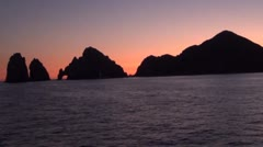 Sunset in cabo lands end Stock Footage