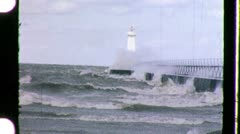 STORMY WEATHER Sea Storm Waves Crash LIGHTHOUSE Vintage Film Home Movie 1091 Stock Footage