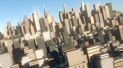 Aerial view of 3d city Stock Footage