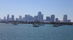 Miami skyline and boats 1 - stock footage