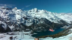 Funicular to Furtschellas, Lake Silvaplana, Upper Engadin, Switzerland, Schweiz Stock Footage