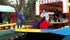 Mexico City Xochimilco River Boats Stock Footage