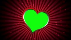 Sun Burst and Heart, Green Screen 1 - HD1080 Stock Footage
