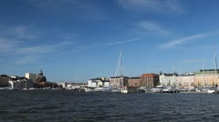 Helsinki Cityscape, Uspenski Cathedral, Pohjoisranta waterfront, Sail Boats Stock Footage