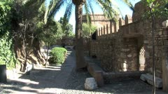 WorldClips-Alcazaba Courtyard Walkway-zooms Stock Footage