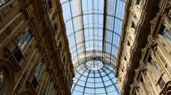 Glass gallery - galleria vittorio emanuele - milan italy Stock Footage