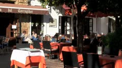 WorldClips-Marbella Plaza Cafe-zooms Stock Footage