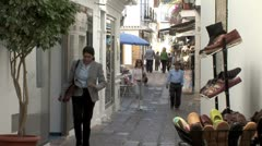 WorldClips-Marbella Retail Walkway-zoom Stock Footage