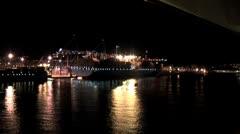 WorldClips-Port of Malaga-Night-xws-zoom-POV Stock Footage