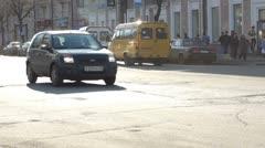 City street traffic defocused view slow motion 60 fps Stock Footage