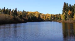 Autumn canadian forest lake Stock Footage