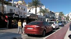 WorldClips-Puerto Banus Front Street-zooms Stock Footage