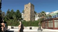 WorldClips-Puerto Banus Moorish Monument-tilts Stock Footage