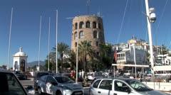 WorldClips-Puerto Banus Moorish Watch Tower-zooms Stock Footage