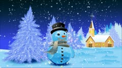 Landscape with snowman Stock Footage