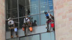 Working At Heights Window Cleaners - stock footage