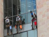 Working At Heights Window Cleaners Stock Footage