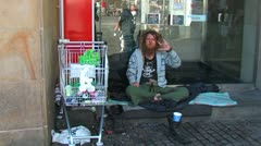Street tramp Stock Footage