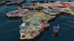 World Pan with Currencies as Countries Stock Footage