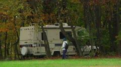 RV and hiker in camping (LP-Voorhees-016b) Stock Footage