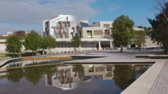 Scottish Parliament Building And Reflecting Pool Stock Footage