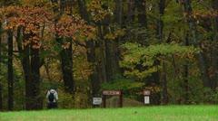Hiker visits campgrounds (LP-Voorhees-017) Stock Footage