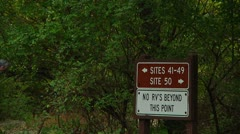 Hiker and camping signs (LP-Voorhees-023b) Stock Footage