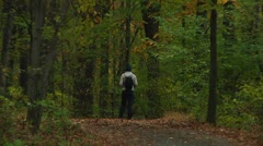 Hiker in the fores (LP-Voorhees-022c) Stock Footage