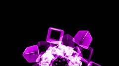 Purple ice block,crystal jewelry necklace,flying glass boxes and rays light,tec Stock Footage