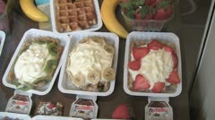 Belgian Waffles with cream and fruit Stock Footage