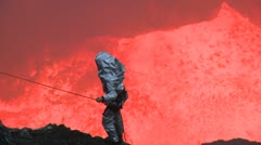Scientist Descends Into Violently Erupting Volcano Stock Footage