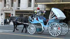 WorldClips-Blue Carriage and NYC Cabs Stock Footage