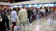 Retina scanning and passport control in Dubai international airport Stock Footage