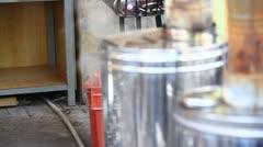 Corn boiling in metal pots Stock Footage