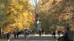 WorldClips-Central Park Daniel Webster Plaza-zoom Stock Footage